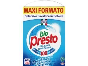 Bio presto  detersivo in polvere per lavatrice   maxi formato 80 misurini