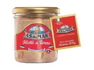 As do mar  filetti di tonno  in vetro - gr 150 • all'olio di oliva • CUORE DI TONNO all'olio di oliva • NATURALE