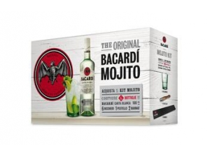Bacardi  kit 6 bottiglie bacardi carta blanca lt 1 + 6 bicchieri