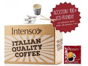 INTENSO  CAFFè GUSTO FORTE kit  - 150 cialde - 150 palettine in legno - 150 bicchierini in carta - 150 bustine di zucchero extrafine
