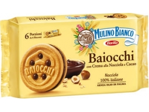 Mulino bianco  baiocchi snack con crema  alla nocciola e cacao  gr 336