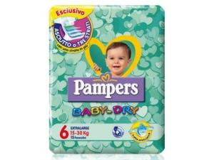 Pampers  pannolini baby-dry  • junior pz 17 • mini pz 25 • midi pz 22 • maxi pz 19 • extra  large pz 15