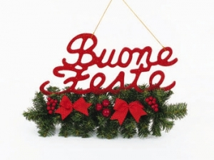 Rami buone feste decorazioni bacche rosse e fiocchi a pois 46x33 cm