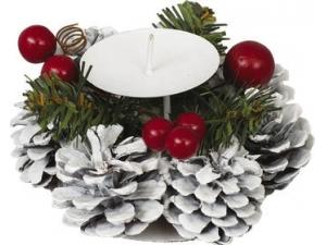 Porta candela con pigne, bacche e rametti in metallo 12x7h cm