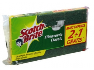 Scotch-brite  strofinetto con spugna fibraverde pz 3