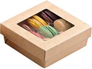 Leone street food  box con finestra • avana •bianco cm 12 x 12  pz 25