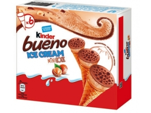 Kinder bueno ice cream • BUENO pz 4 GR 128 • MINI BUENO pz 6 GR 240   • SANDWICH pz 6 GR 210 • STICK pz 10 GR 270