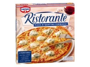 Cameo  pizza ristorante  • margherita gr 330  • quattro formaggi gr 340  • funghi gr 365 • tonno gr 355  • prosciutto e patate gr 310 • salame gr 320