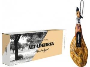 Alejandro miguel prosciutto iberico di bellota 100% patanegra razza iberica kg 7+ con morsa e coltello in confezione regalo
