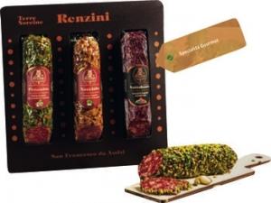 Renzini San Francesco d'Assisi tris di salame: pistacchio, noce e frutti rossi in confezione regalo