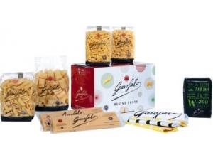 Garofalo valigetta natale personalizzata:  pasta kg 3 + olio ml 500 + kg 1 farina + canovaccio brandizzato