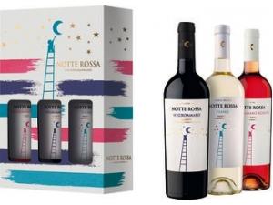 Notte rossa  confezione 3 bottiglie: - rosato cl 75  - negroamaro cl 75 - fiano cl 75