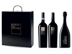 Feudi di san gregorio  astuccio 3 bottiglie: - falanghina  cl 75 - rubrato cl 75  - charmat cl 75