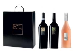 Feudi di san gregorio astuccio 3 bottiglie: - 1 falanghina cl 75 - 1 rubrato cl 75 - 1 visione cl 75