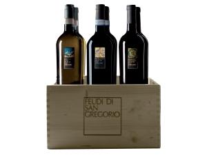 Feudi di san gregorio cassetta in legno 6 bottiglie: - 2  falanghina doc cl 75 - 2 fiano avellino docg  cl 75 - 2 rubrato doc cl 75