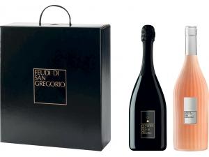 Feudi di san gregorio  astuccio 2 bottiglie:  - falanghina spumante cl 75  - visione cl 75