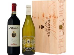 Frescobaldi  scatola in legno 2 bottiglie:  - chianti riserva nipozzano cl 75  - pomino bianco doc cl 75