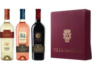 Villa matilde  confezione vintage 3 bottiglie: - falerno bianco doc cl 75  - terre cerase igp cl 75 - stregamora igp cl 75