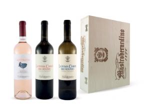 Mastroberardino  cassetta in legno 3 bottiglie lacryma christi vesuvio doc: • bianco • rosso • rosato
