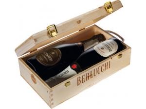 Berlucchi bauletto in legno 2 bottiglie: - demi sec cl 75 - dosaggio zero cl 75