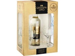 Antica grapperia mazzetti  confezione degustazione graspa oro cl 50 (liquore a base di grappa con pagliuzze d'oro 24 carati)  + 4 bicchieri