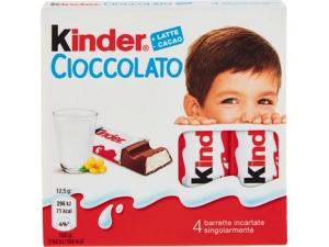 Kinder 4 barrette di cioccolato al latte gr 50