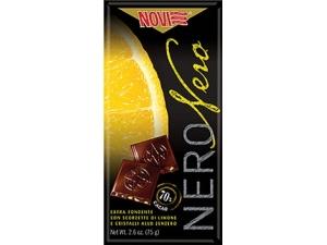 Novi tavoletta nero nero • 88% • limone zenzero • ghana 70% • equador 75% • arancia e mandorle • caffè • menta • lampone gr 75